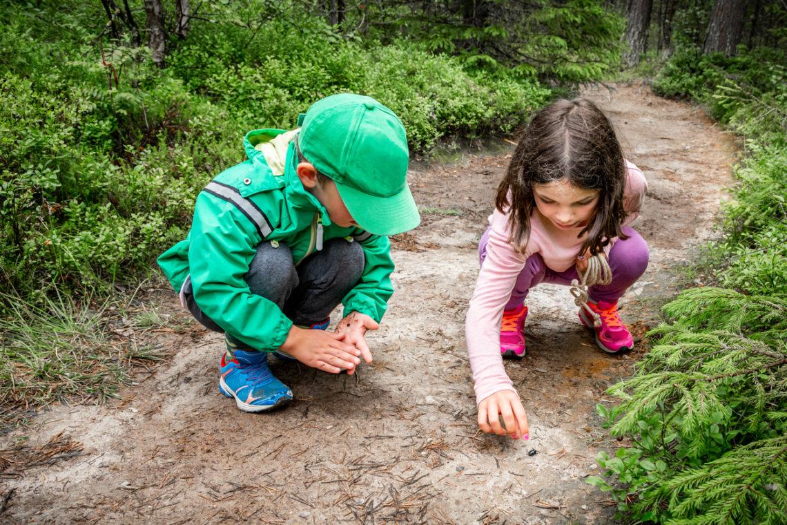 Niños jugando en un camino de tierra